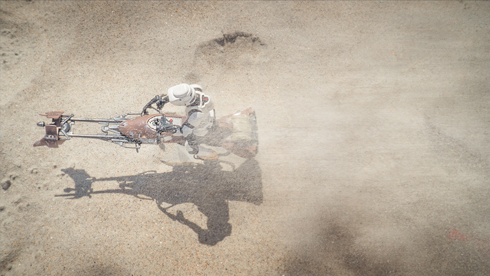 The final shot of speeder bike from above.