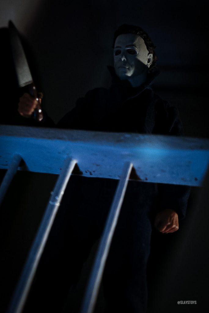 NECA Michael Myers action figure in classic Halloween movie scene