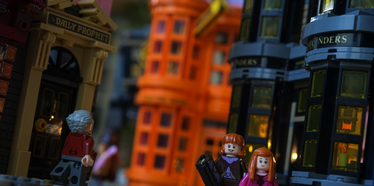 LEGO Diagon Alley Shot Diagonally: A Toy Photography Review