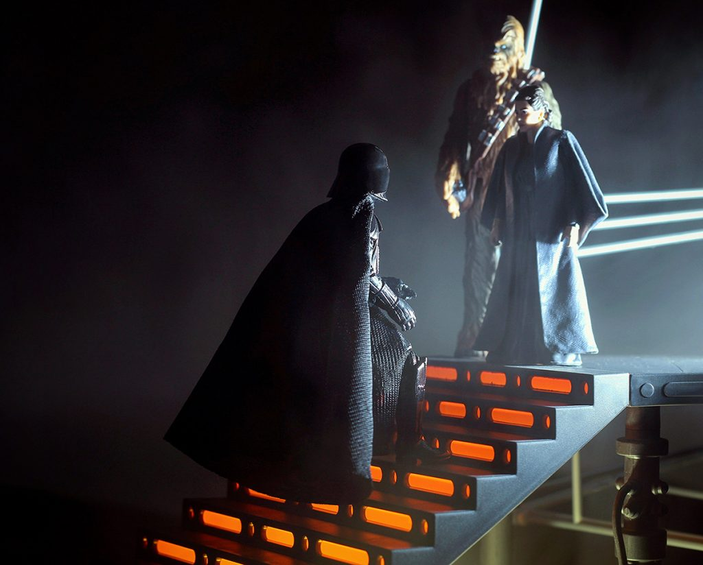 David Prowse as Darth Vader, meets Princess Leia and Chewbacca in the next world