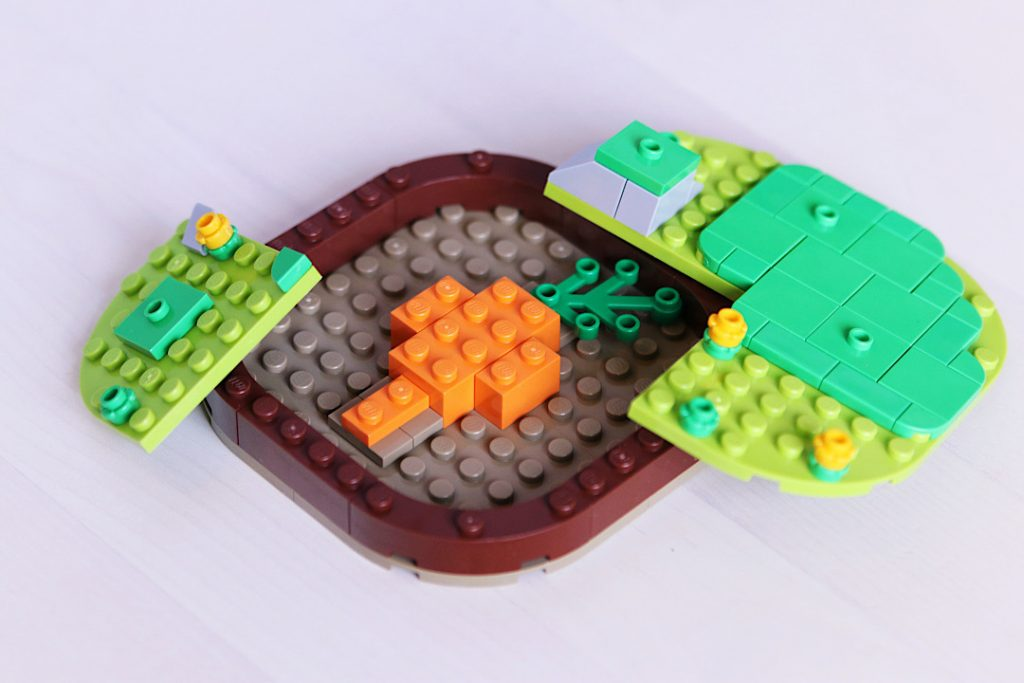 LEGO brick built meadow and carrot