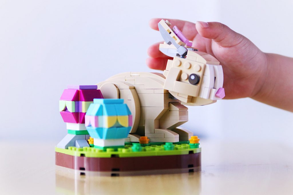 LEGO brick built Easter Bunny and eggs