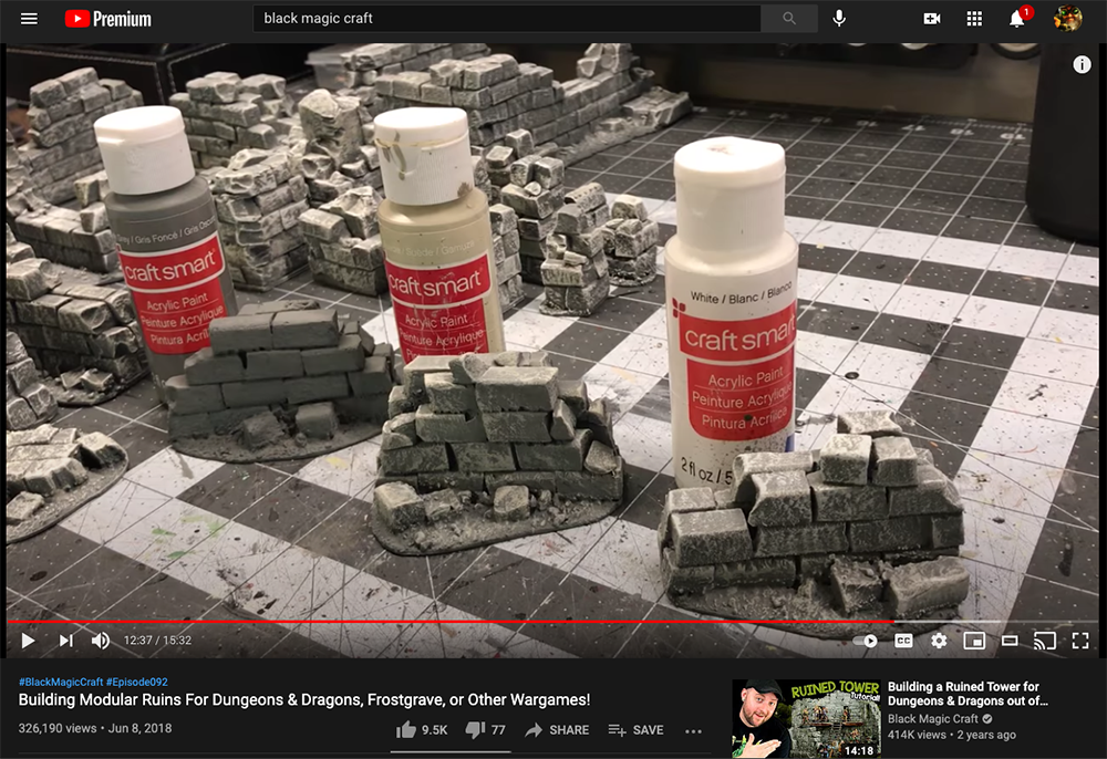 Video screen shot from Black Magic Craft making bricks