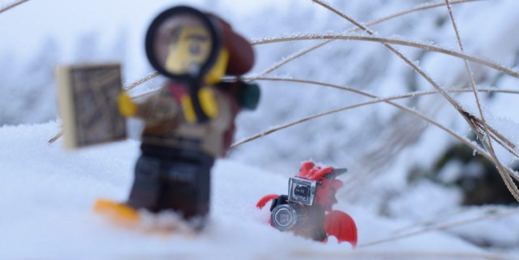LEGO minifigures in snow