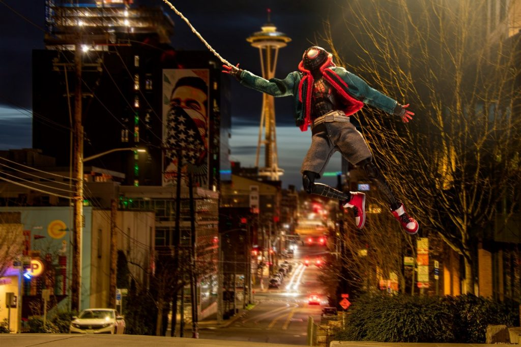 Spider-Man webslings around Seattle in this photo series by photographer Matt McDonald, featuring the Mafex Miles Morales action figure.