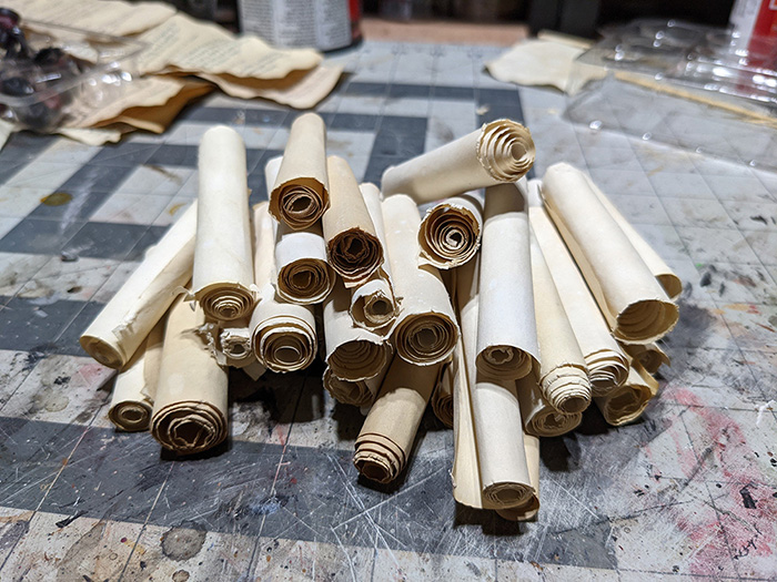 A pile of ancient scrolls