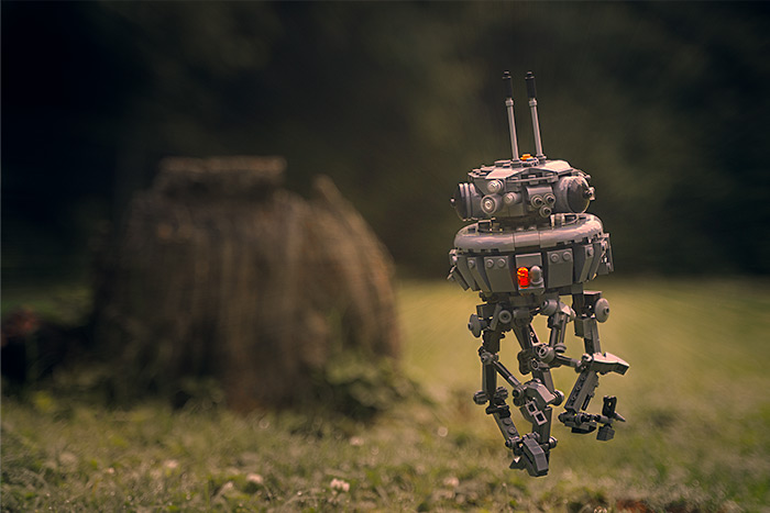 Imperial Probe Droid floating in mid air