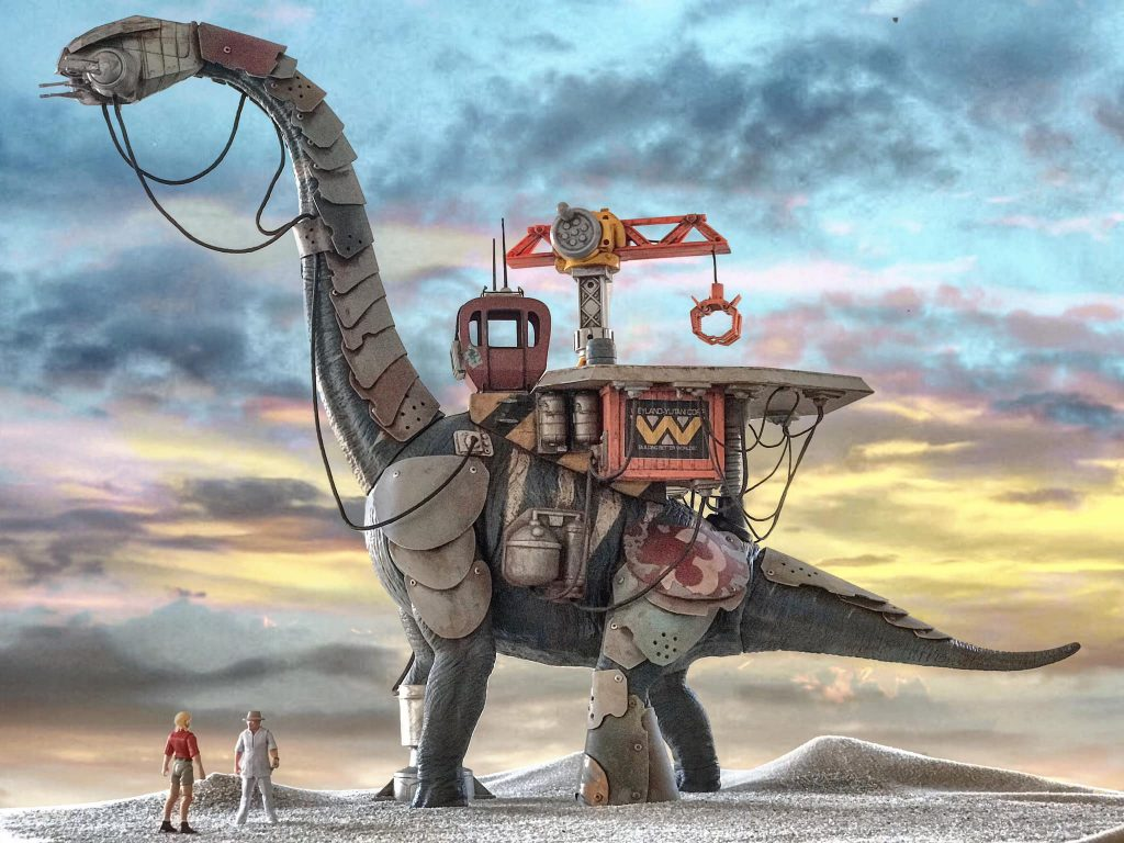 A massive, custom Jurassic Park dinosaur fits right in to Chris Shaylor's world