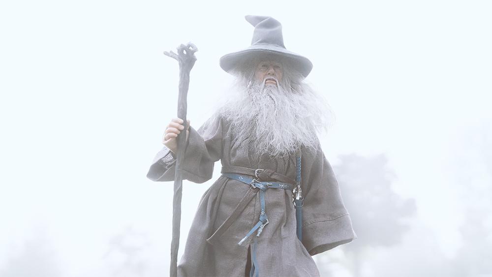 Gandalf walking in the fog