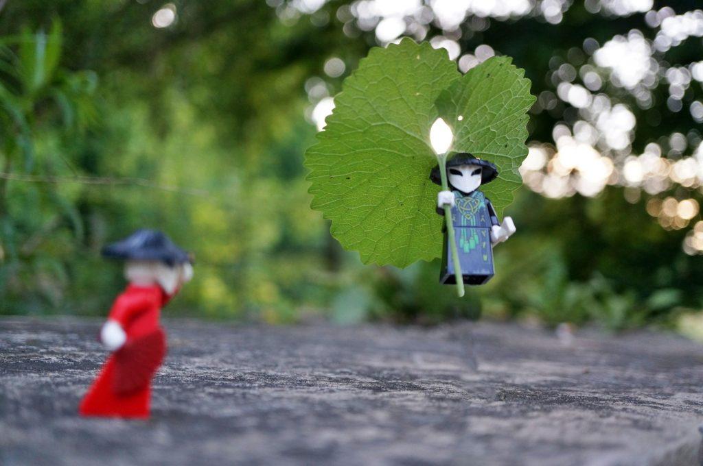Lego Ninjago minifigure uses leaf as parachute