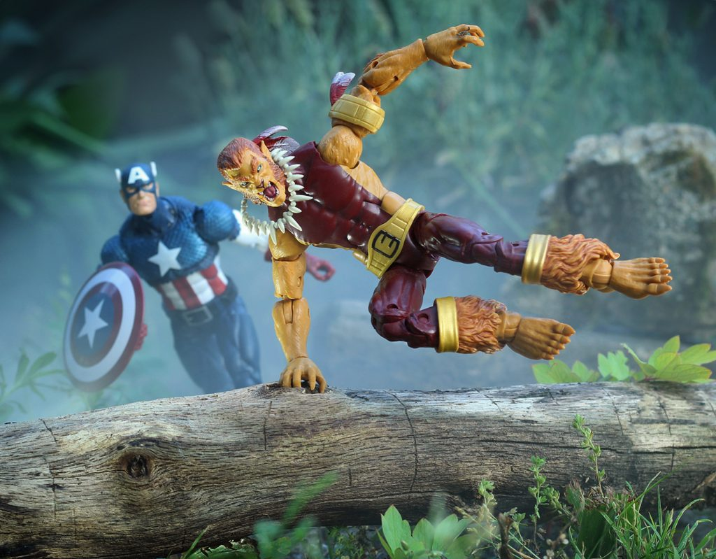 Puma runs from Captain America - Marvel Legends action figures