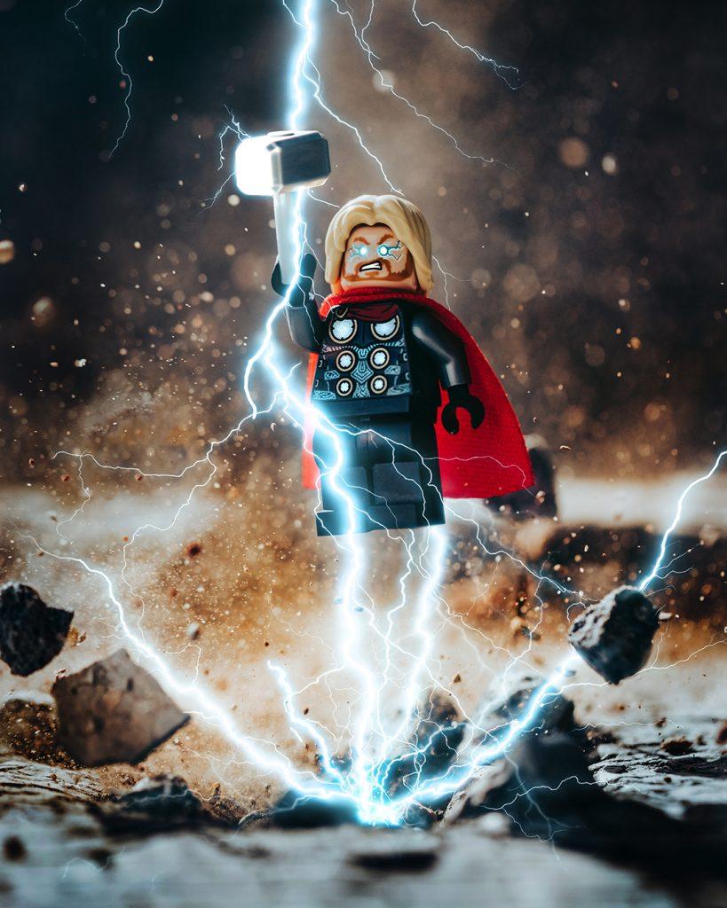 LEGO Thor minifigure with lightning