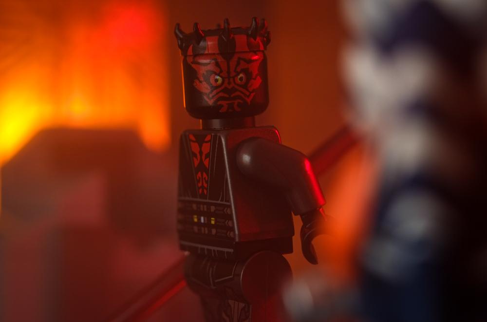 LEGO Darth Maul minifigure looking at Ahsoka Tano