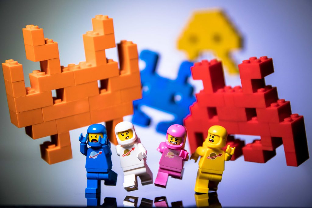 Classic LEGO space astronaut minifigures with MOC Space Invaders