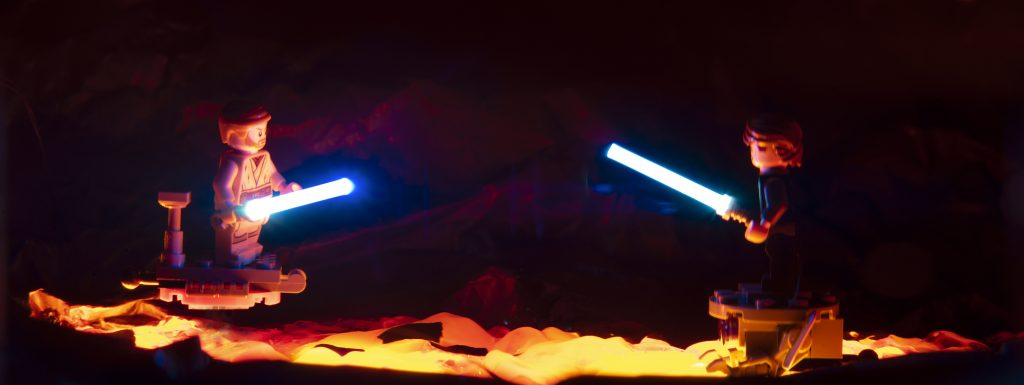 This is the end for you, My Master. I wish it were otherwise. Toy photography by Tom Milton as part of the post Welcome to Mustafar: Diorama Building with Jelly